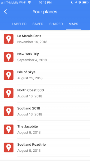 Google Maps Your Places page