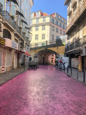 Dirty Pink Street in Lisbon