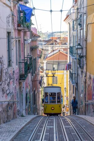 Tram in Lisbon at Elevador da Bica