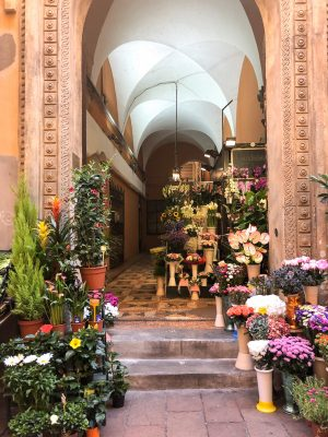 Flower market in Bologna