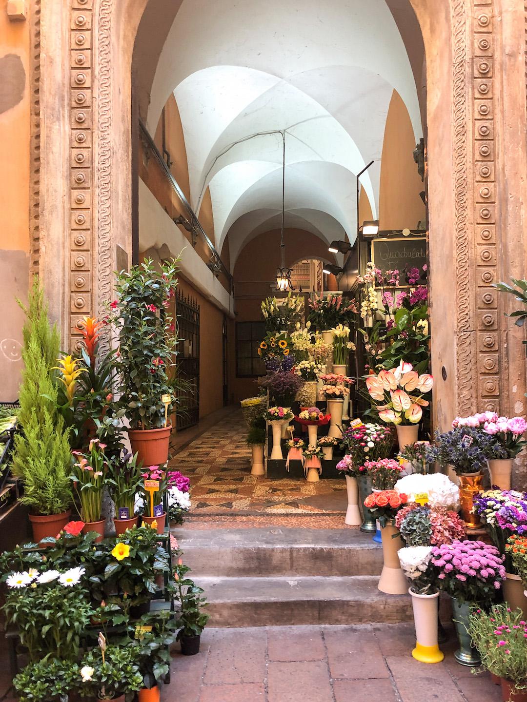 Flower market in Bologna