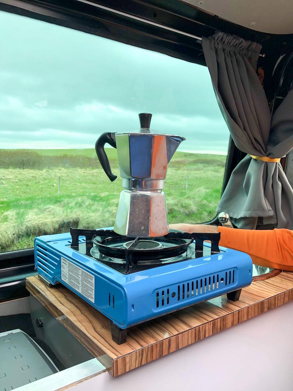 Coffee in a Camper Van in Iceland