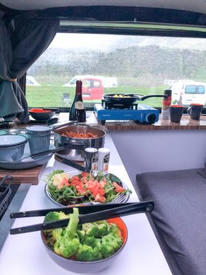 Dinner in a Camper Van, Iceland