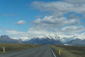Driving toward a glacier, Iceland