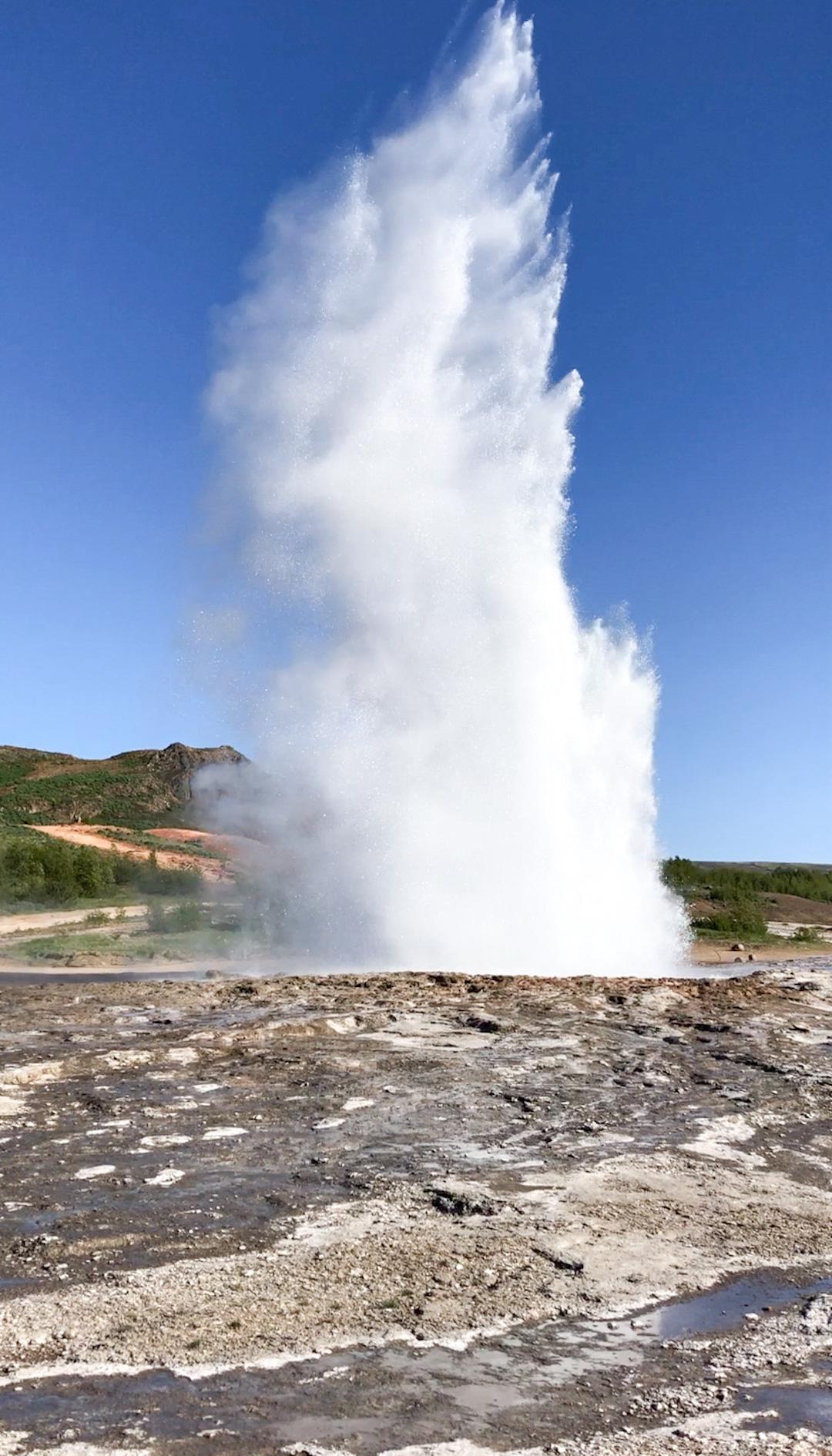 Stokkur Geysir erupting in Iceland