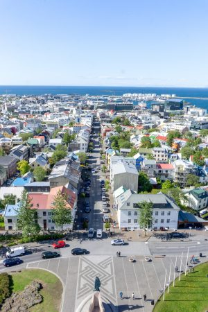 Views from Hallgrimskirkja in Reykjavik