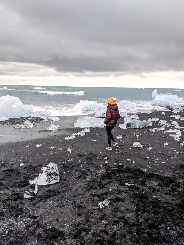 Her Travel Edit at Diamond Beach, Iceland