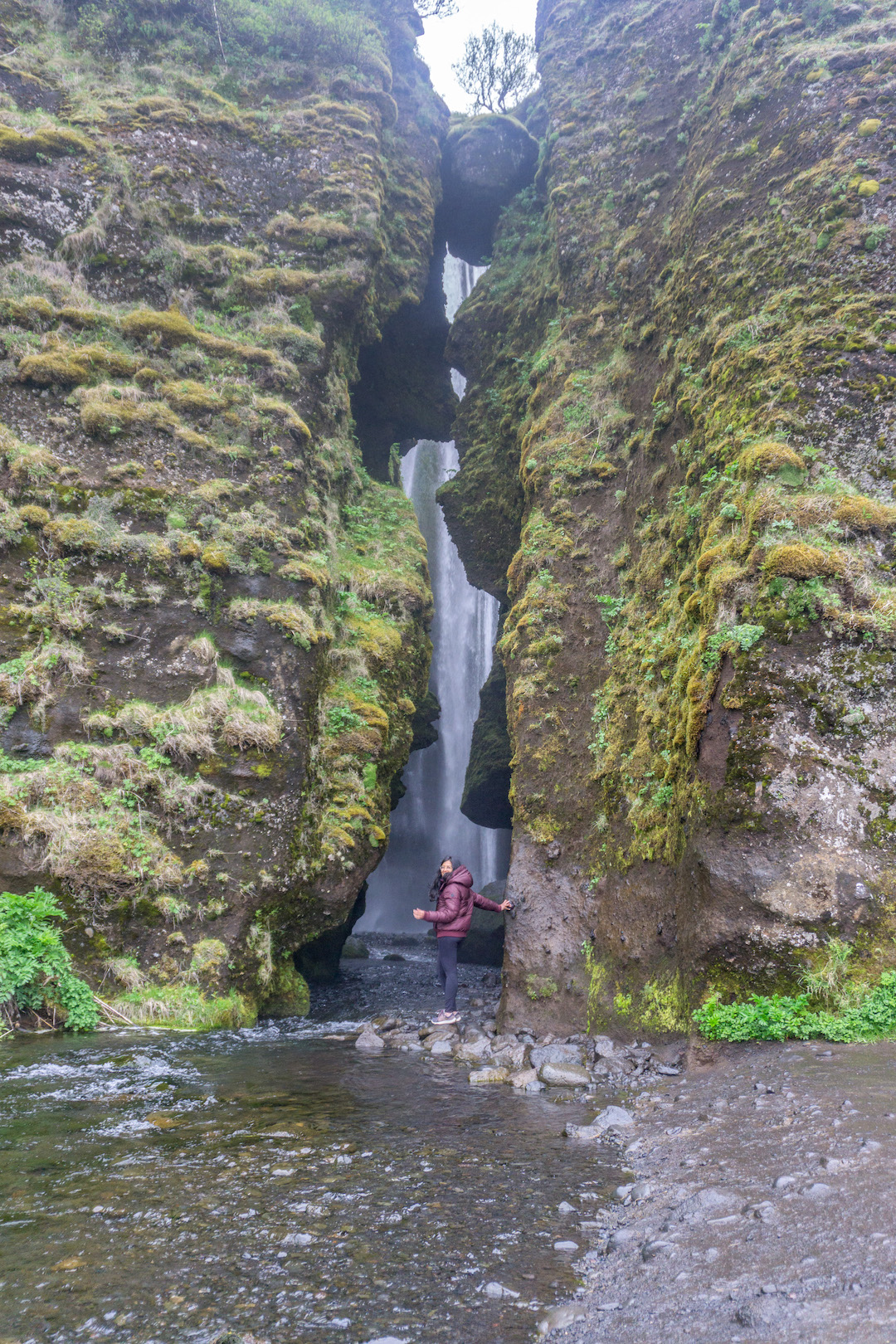 Her Travel Edit at the Secret Waterfall in Iceland